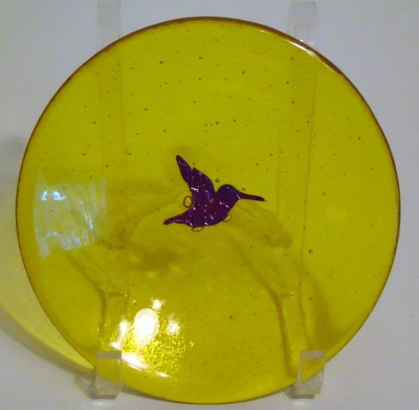 Bowl, Yellow with Copper Hummingbird