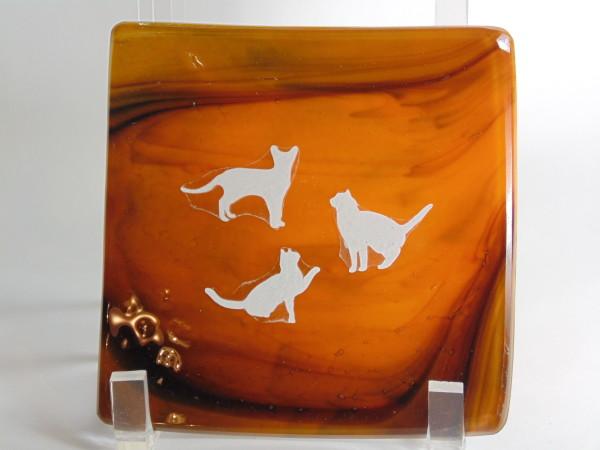 Small dish-Orange/Purple with cats