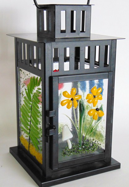 Garden Lantern with fused glass panels