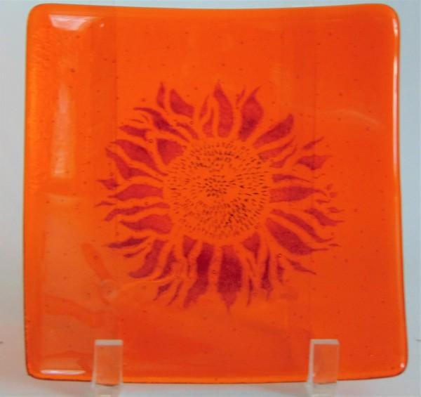 Plate-Red sunflower on orange
