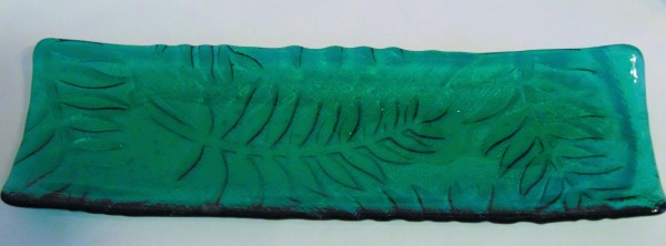 Long Tray-Emerald Green with Fern Imprint