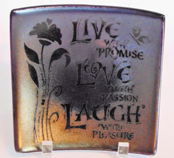 Live with Promise Plate on Silver/Gold Irid