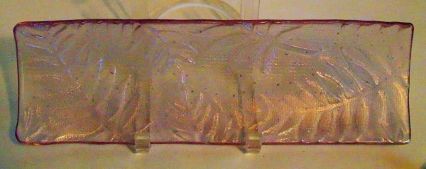 Long Tray-Erbium Pink Irid with Fern Imprint