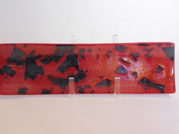 Long Dish-Red with Black-irid