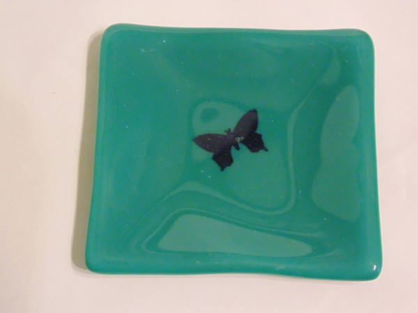 Small dish Teal with copper butterfly