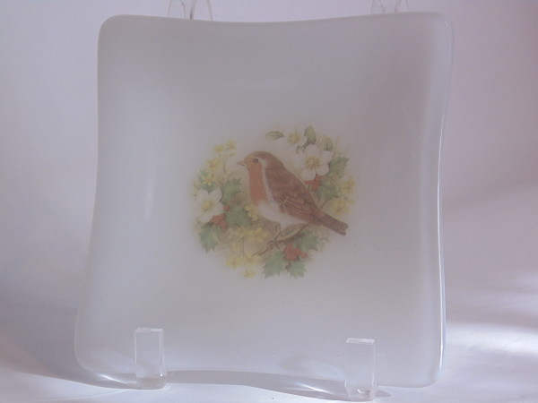 Small plate-White with Christmas Holly Bird