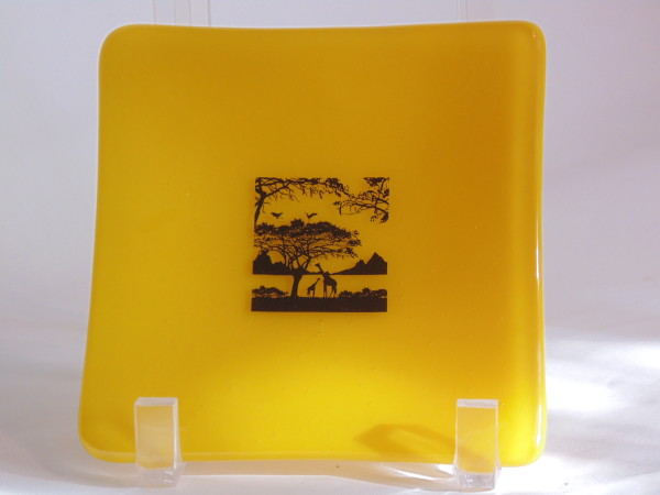 Small dish-Yellow with Savannah scene