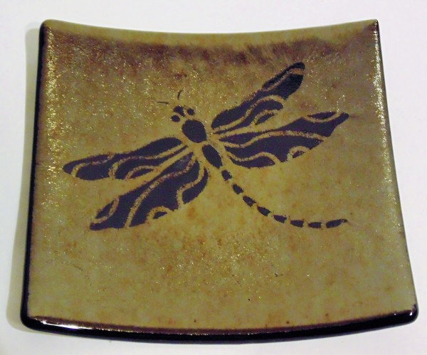 Dragonfly on Gold Irid Plate