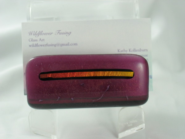 Business Card Holder--Plum Irid with Dichro strip