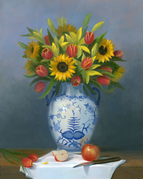 Sunflowers, lillies and tulips