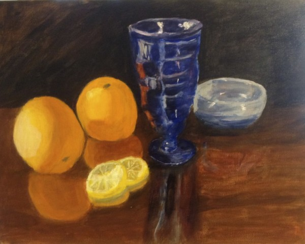 Blue glass with oranges