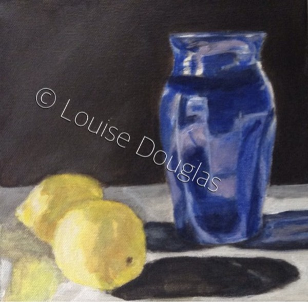 Blue Vase and Lemons