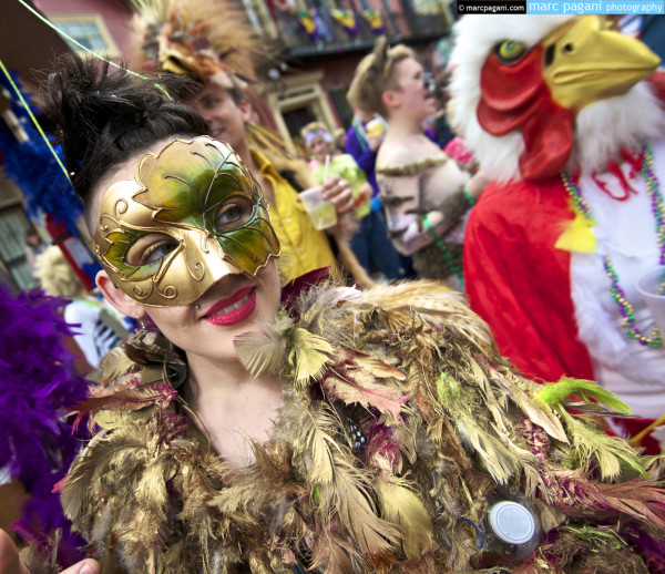 Mask, Feathers, & Chicken - Mardi Gras Day