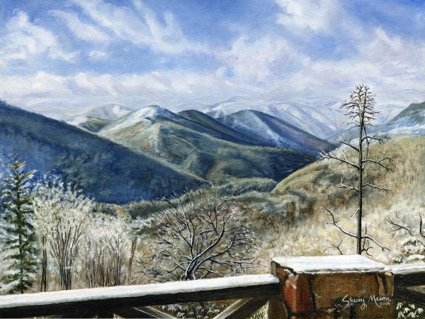 Snowbird Mountain - Lodge View, 12 x 16 original oil on cotton canvas, © Sherry Mason