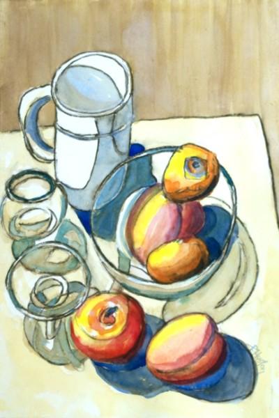 Mug, glass and fruit