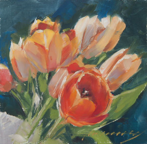 Tulips on a box 4 - Orange