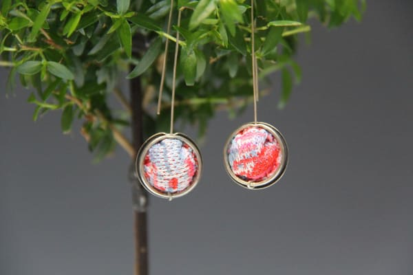 Quilted Button Cover Earrings