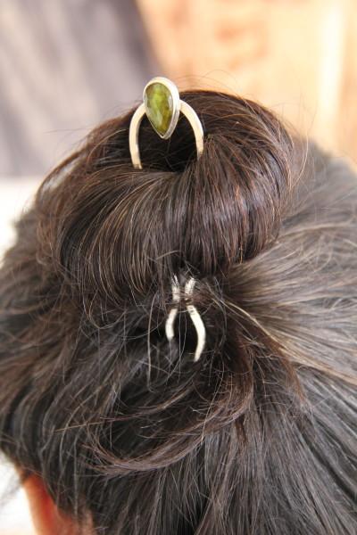 Green tourmaline hair pin