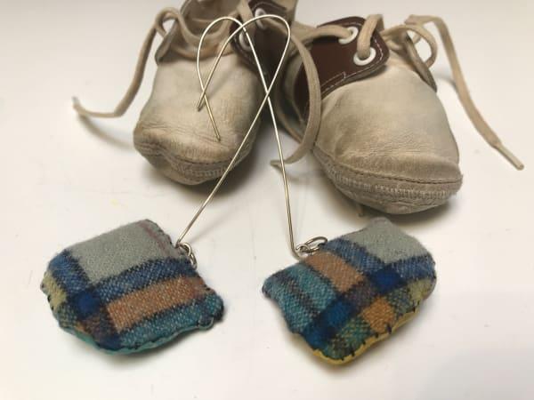 Vintage Pendleton Fabric and Silk Earrings