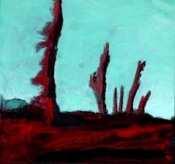 Six Red Trees with Distant Green Hill
