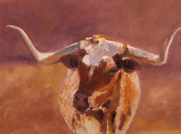(Sold) Longhorn by the Moonlight