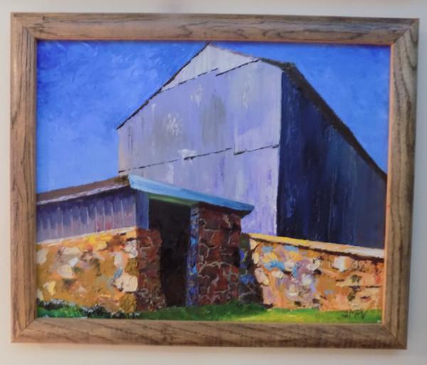 Blue Barn Yellow Stone Wall