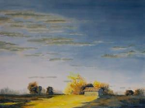 Barn in Gold Light, Evening