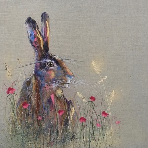 Golden hare in the poppies