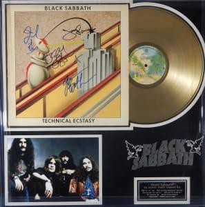 "Black Sabbath Signed Gold LP ""Technical Ecstacy"""