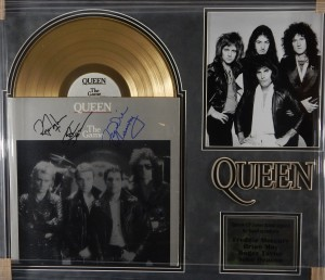 "Queen Signed Gold LP Record Album ""The Game"""