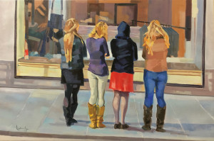 Four ladies in a window dik2u9