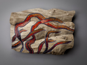 """Caught by the current 3, 2015 Boxelder and glass mosaic. 14""""H, 20""""W, 3.5""""D"""