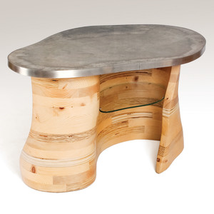 "Contours table, 2011 Reclaimed construction lumber, concrete and stainless steel, 21""H, 39""W, 26""D"