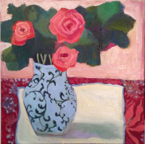 Pink Roses White Tablecloth