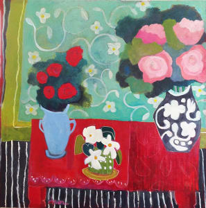 Red Table with Flowers