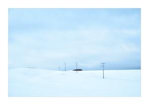 Snow and telephone poles, Maniototo