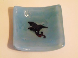 Small dish-Powder blue with copper hummingbird