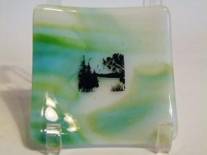 Small sushi with Lake Scene-Green, Blue, White Streaky
