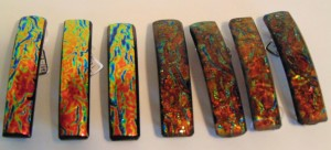 Barrette-Orange & Gold Rippled Dichroic, Capped
