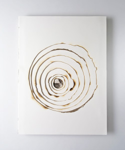 Kelly m. o brien playing with fire no. 75. paper gold leaf ink flame. 32 x 24 x 1.5 inches. 2018