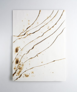 Kelly m. o brien playing with fire no. 76. paper gold leaf ink flame. 32 x 24 x 1.5 inches. 2018