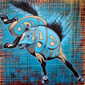 Liz chappie zoller iron horse blast off 48 x 48 oil sbiupf