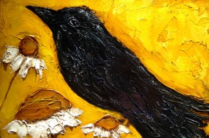 Crow and daisy triptych right12x18 ordezf