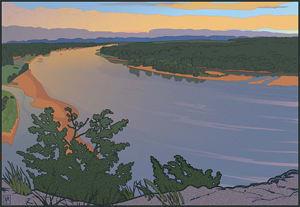 Ferry Bluff Upriver (Unframed Print)