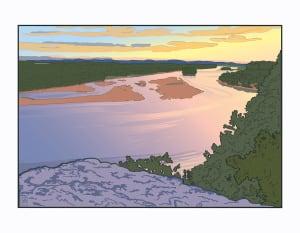 Ferry Bluff Downriver (Unframed Print)