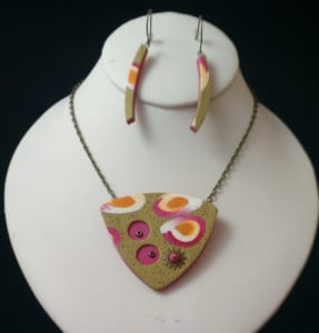 Pink and Gold Triangle Set (Earrings Only)