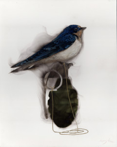 Bird on Grenade (2 Swallow attached to pin)