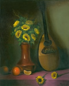 Still Life with Mandolin and sunflowers