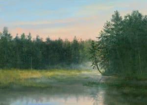 Misty morning, little leaning tree