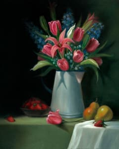 Pink Tulips, Lilies and Pears